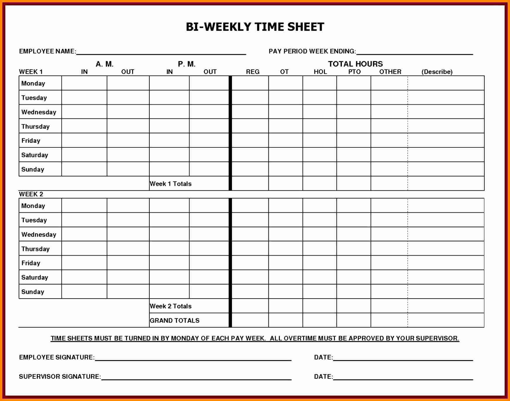 Free Printable Time Sheets Fresh 5 Printable Payroll Sheets