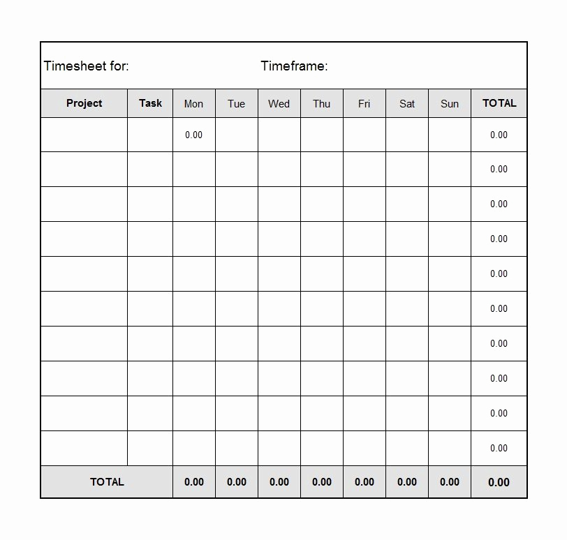 Free Printable Time Sheets Lovely 40 Free Timesheet Time Card Templates Template Lab