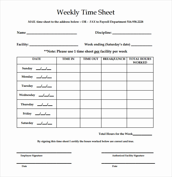 Free Printable Time Sheets Luxury 22 Weekly Timesheet Templates – Free Sample Example