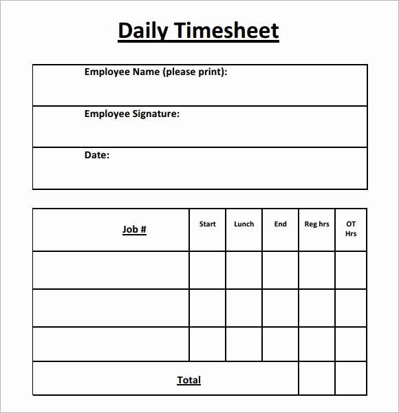 Free Printable Time Sheets New Daily Timesheet Template 15 Free Download for Pdf Excel