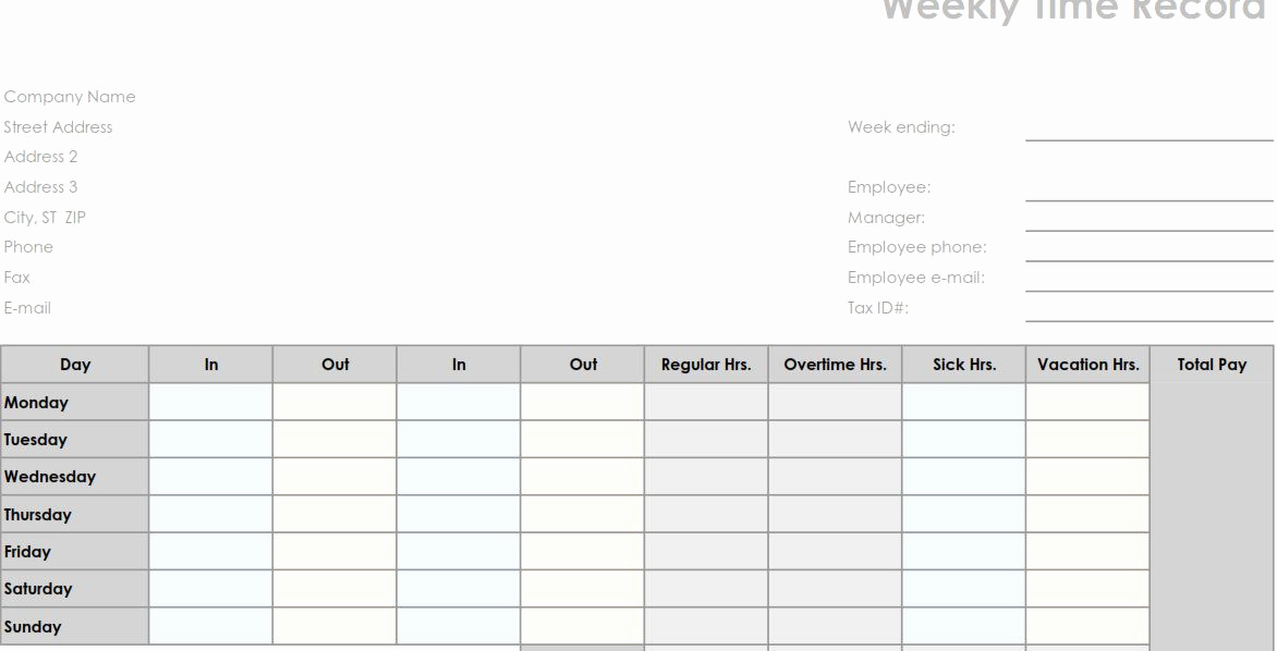 Free Printable Time Sheets Pdf Inspirational Printable Pdf Weekly Employee Time Sheet