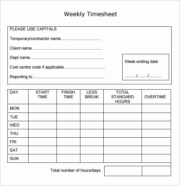 Free Printable Time Sheets Pdf New Weekly Timesheet Template 15 Free Download In Pdf