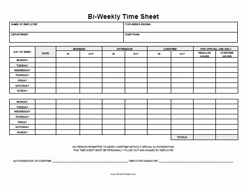 Free Printable Time Sheets Pdf Unique Biweekly Time Sheet Free Printable Allfreeprintable