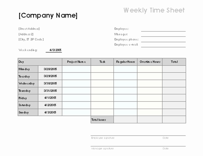 Free Printable Time Sheets Unique Weekly Time Sheet with Tasks and Overtime