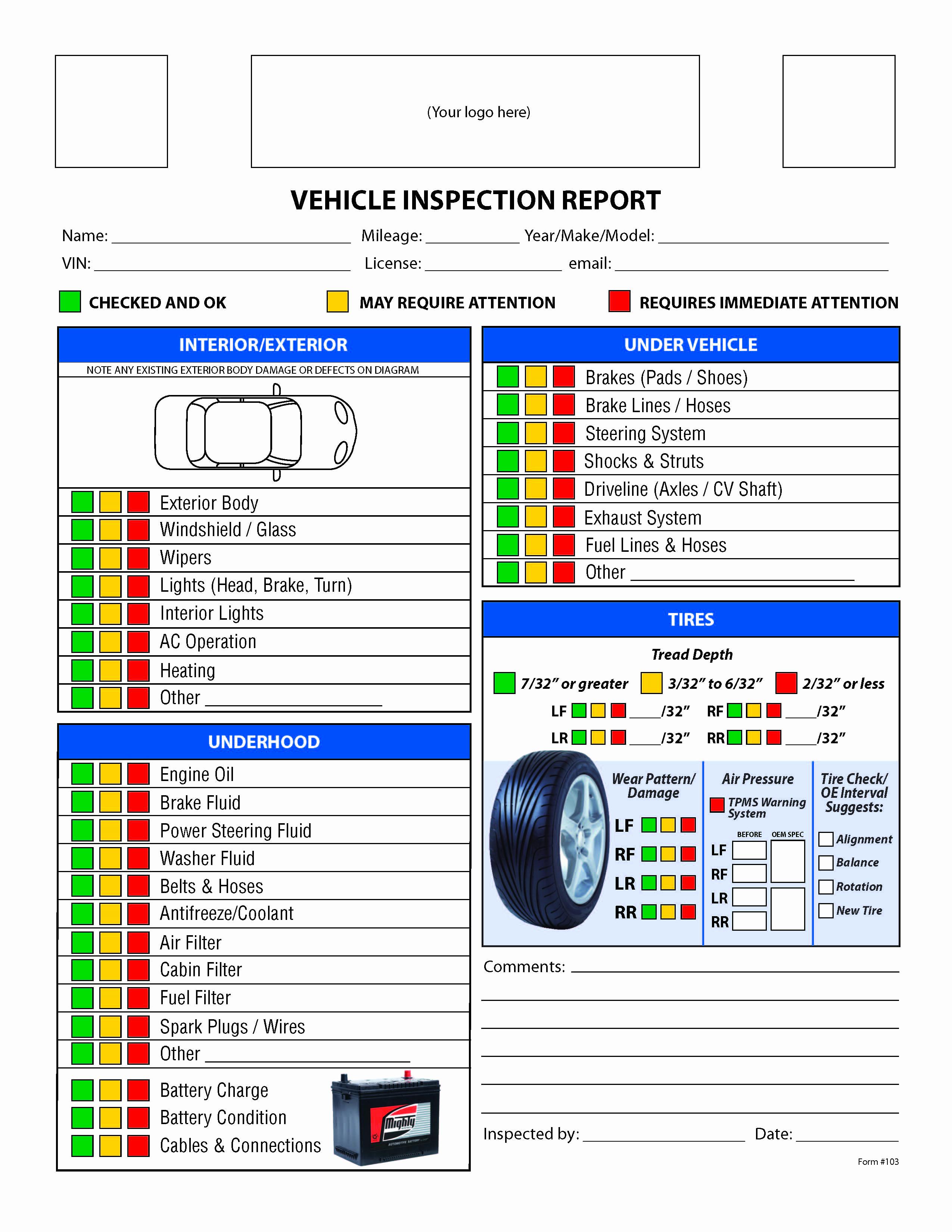 Free Printable Vehicle Inspection form Elegant Free Vehicle Inspection Checklist form