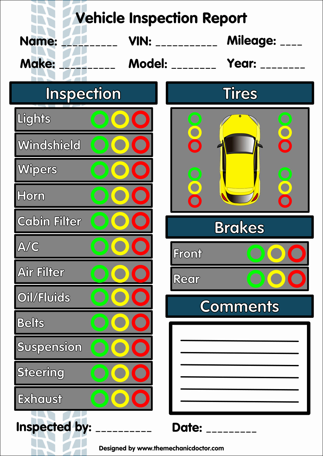 Free Printable Vehicle Inspection form Inspirational 6 Free Vehicle Inspection forms Modern Looking