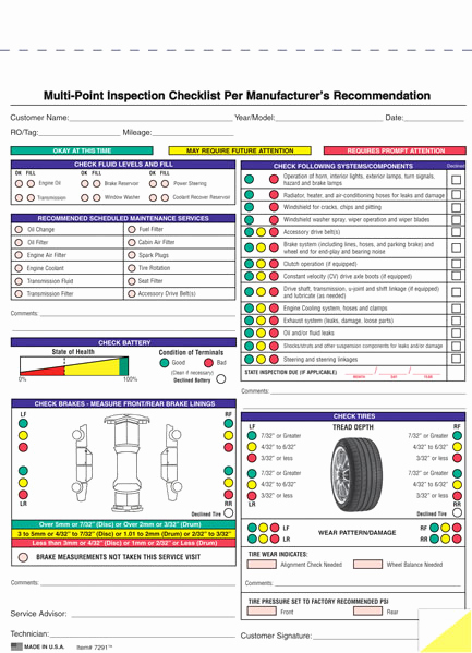 Free Printable Vehicle Inspection form Lovely Generic and Imprinted Multi Point Vehicle Inspection forms