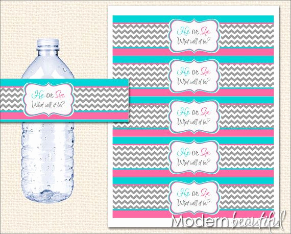 Free Printable Water Bottle Labels Awesome Instant Download Pink and Blue Gender Reveal Water Bottle