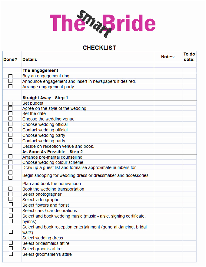 Free Printable Wedding Checklist Awesome Wedding Checklist Template 20 Free Excel Documents