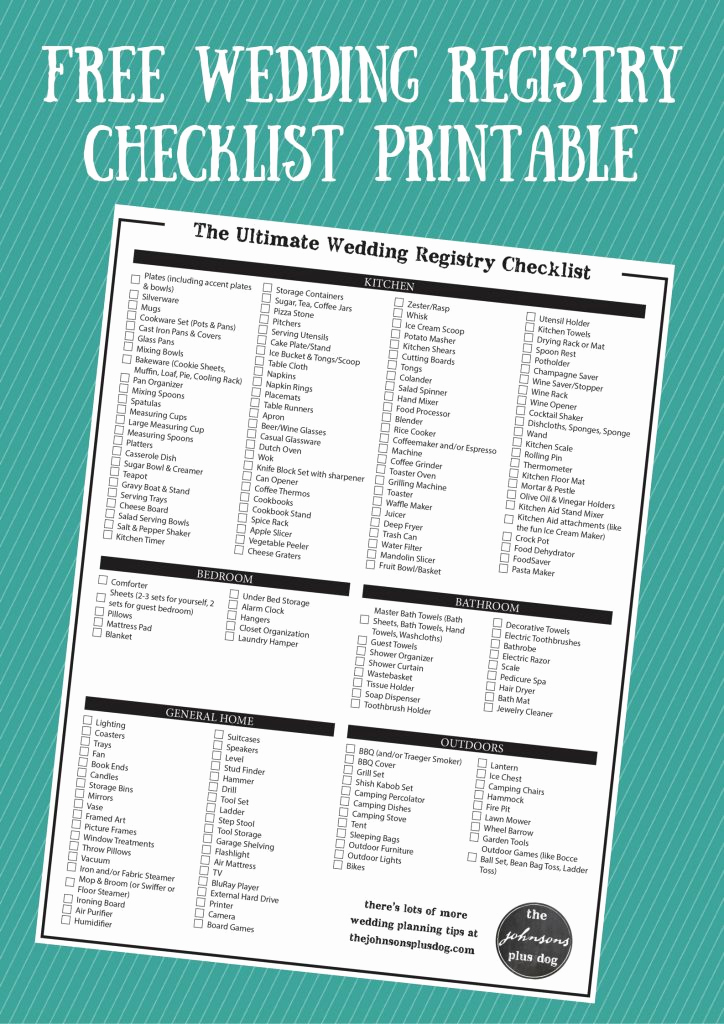 Free Printable Wedding Checklist Elegant the Ultimate Wedding Registry Checklist Free Printable