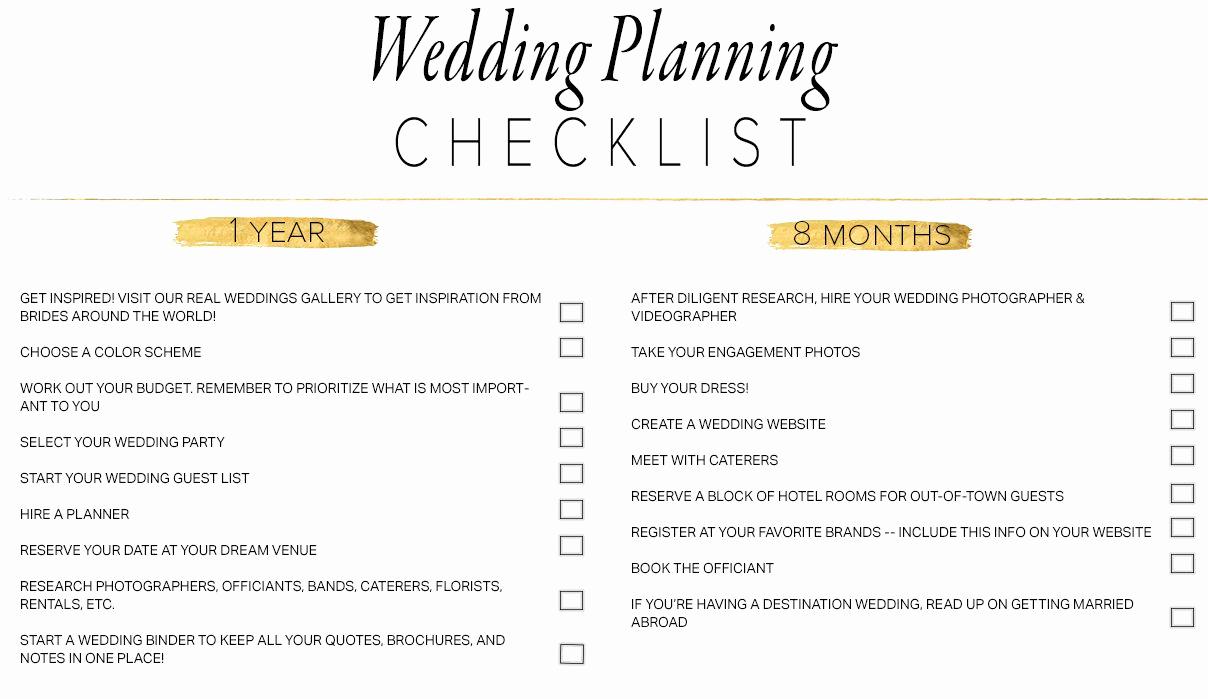 Free Printable Wedding Checklist Inspirational 11 Free Printable Wedding Planning Checklists