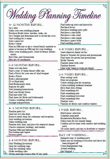Free Printable Wedding Checklist Inspirational Wedding Checklist Timeline Printable