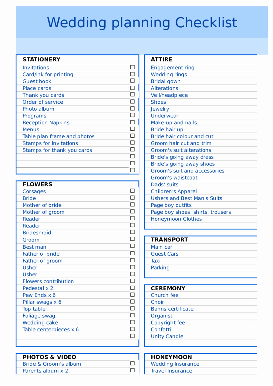 Free Printable Wedding Checklist Lovely 2019 Wedding Checklist Template Fillable Printable Pdf
