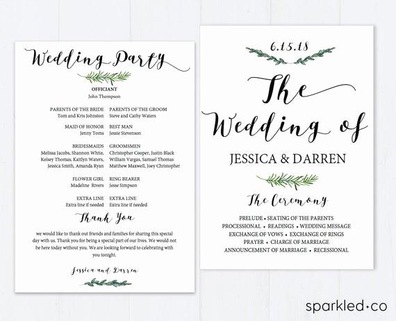 Free Printable Wedding Program Templates Beautiful Botanical Wedding Program Template Wedding Program Template