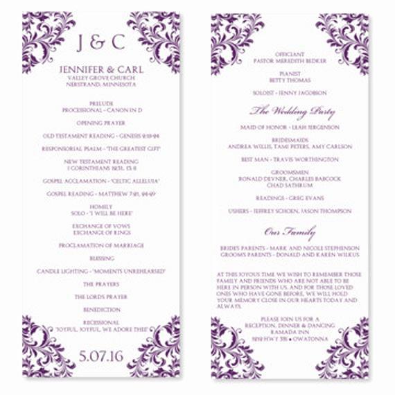 Free Printable Wedding Program Templates Beautiful Wedding Program Template Instant Download Edit by