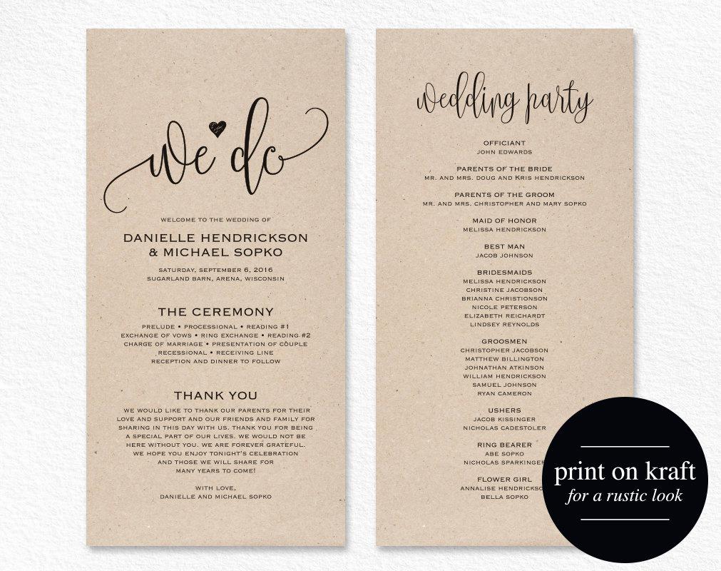 Free Printable Wedding Program Templates Beautiful Wedding Program Template Wedding Program Printable We Do