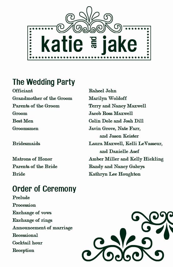 Free Printable Wedding Program Templates Elegant Custom Printables Katie S Wedding Program
