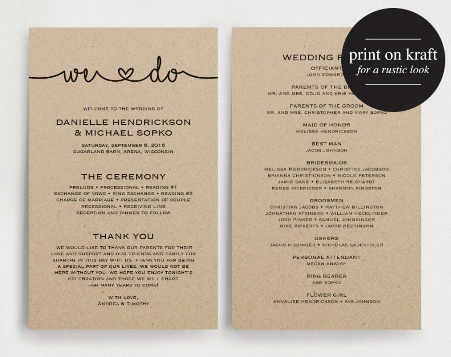 Free Printable Wedding Program Templates Elegant Wedding Programs Instant Download Printable Template