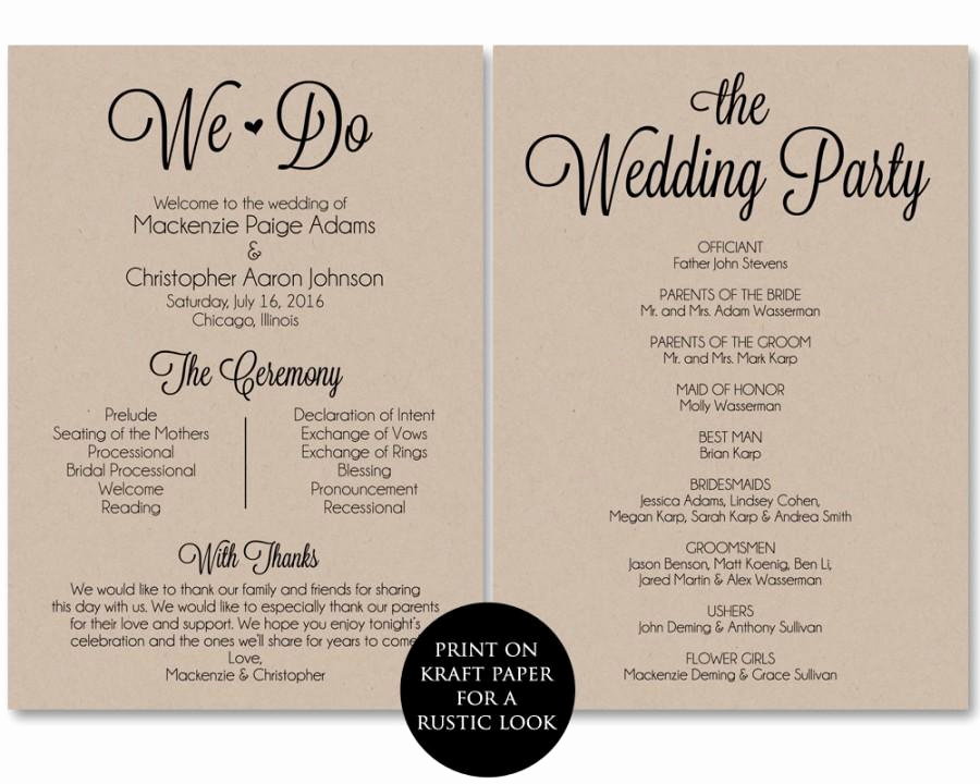 Free Printable Wedding Program Templates Fresh Ceremony Program Template Wedding Program Printable We