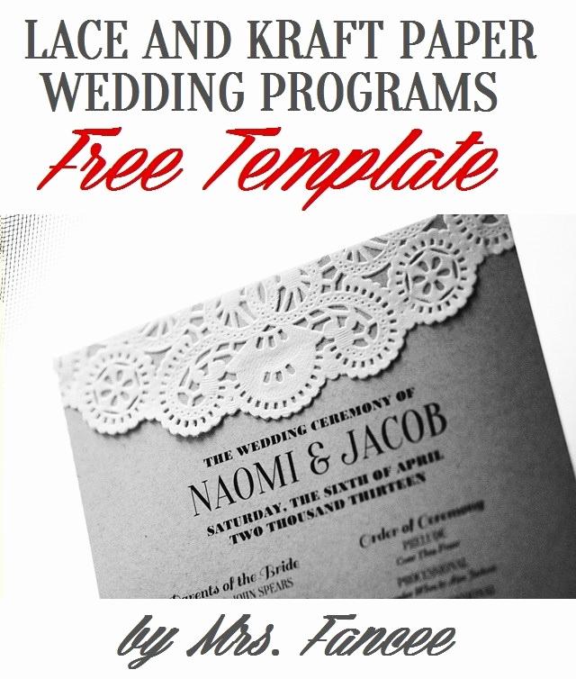Free Printable Wedding Program Templates Fresh Wedding Program Template Mrs Fancee