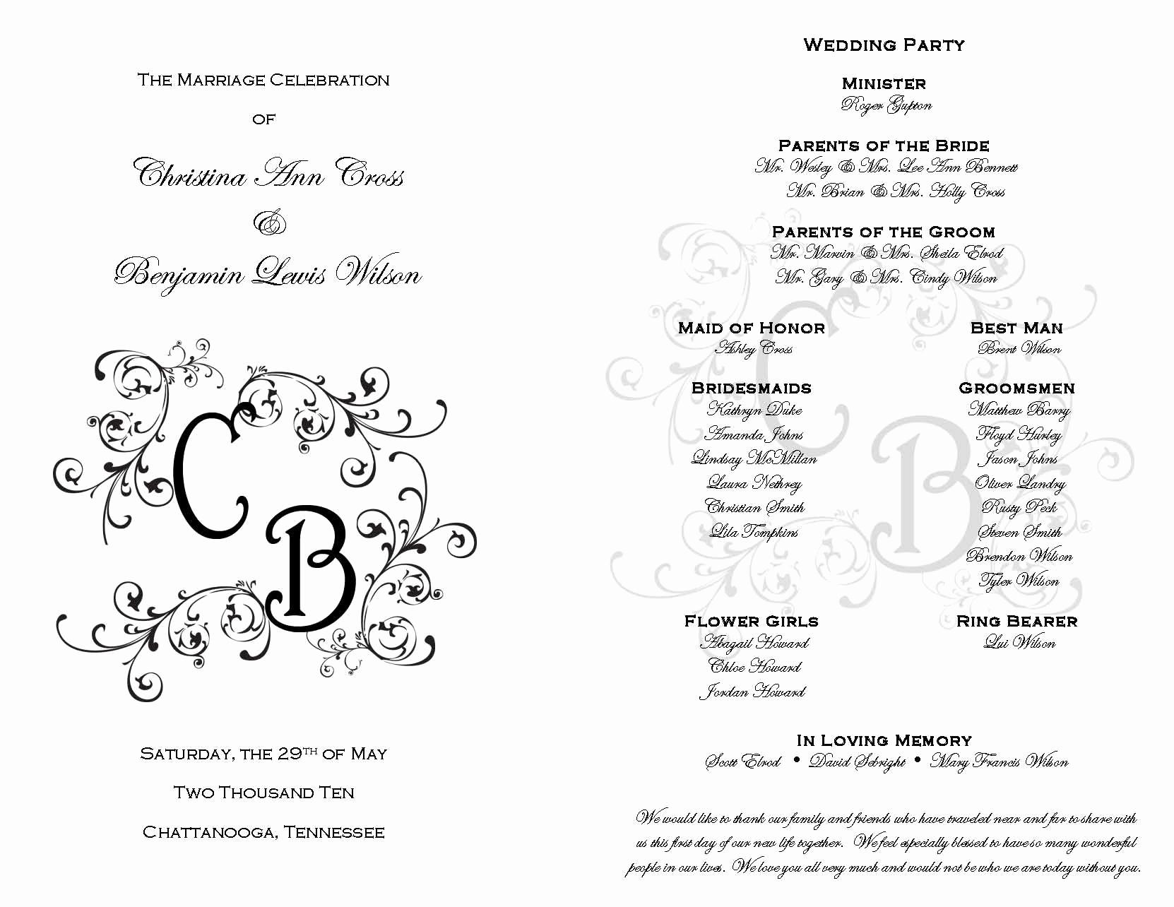 Free Printable Wedding Program Templates Lovely Printable Wedding Programs On Pinterest