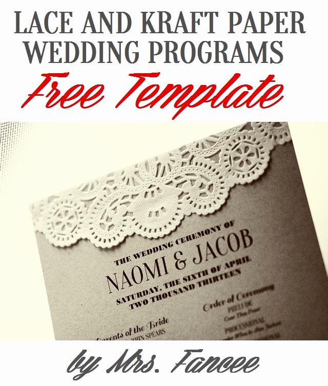Free Printable Wedding Program Templates Lovely Wedding Program Template Mrs Fancee