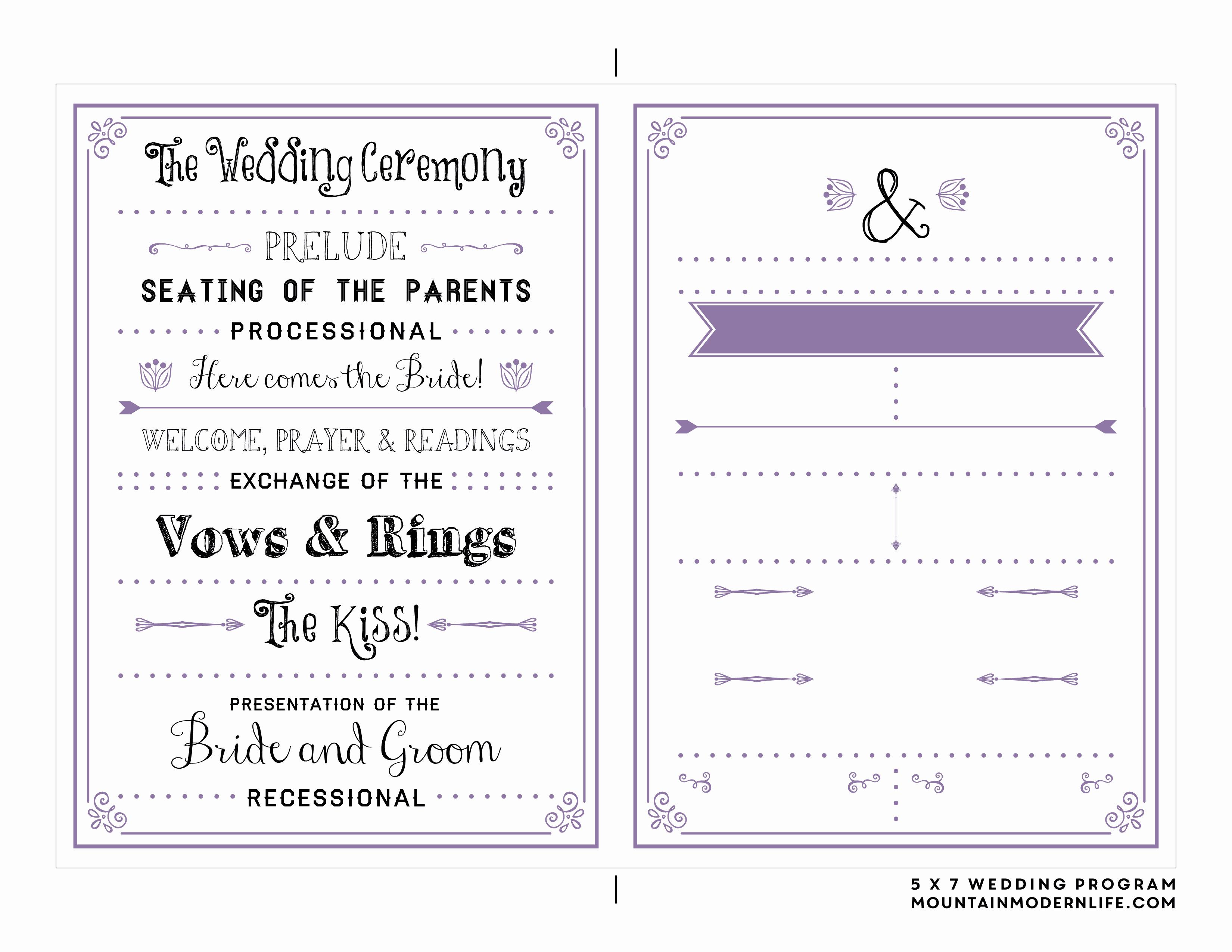 Free Printable Wedding Program Templates Luxury Free Printable Wedding Program