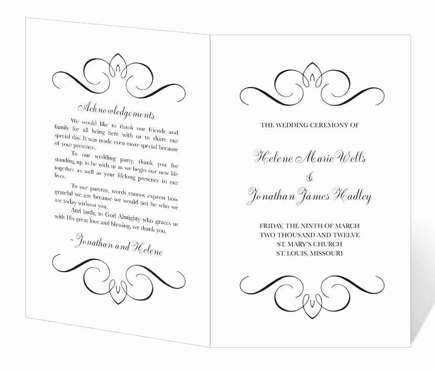 Free Printable Wedding Program Templates Luxury Instant Download Flourish Wedding Program Template $25