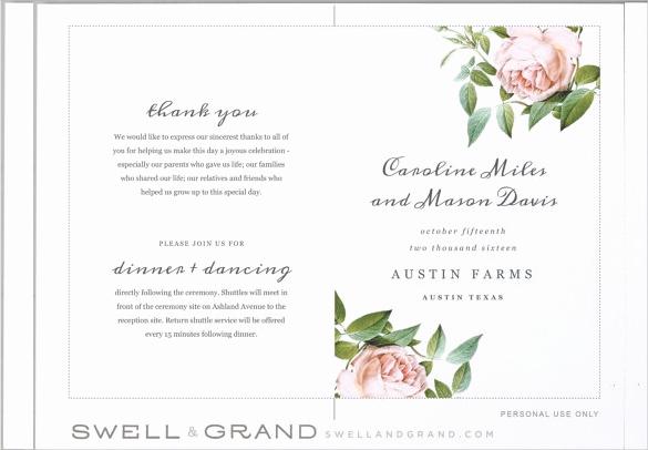 Free Printable Wedding Program Templates Luxury Wedding Program Templates – 15 Free Word Pdf Psd