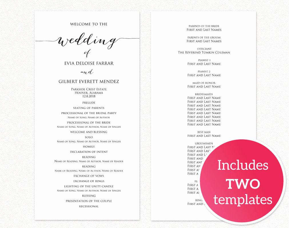 Free Printable Wedding Program Templates New Wedding Programs · Wedding Templates and Printables
