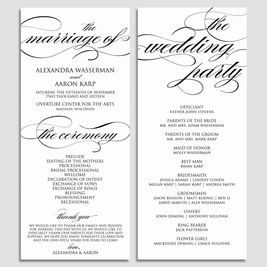 Free Printable Wedding Program Templates Unique Wedding Program Template Wedding Program Printable