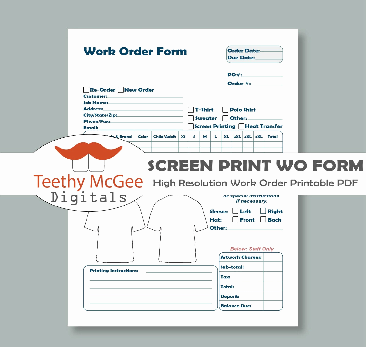 Free Printable Work order Template Beautiful Work order form for Screen Printing Instant Download