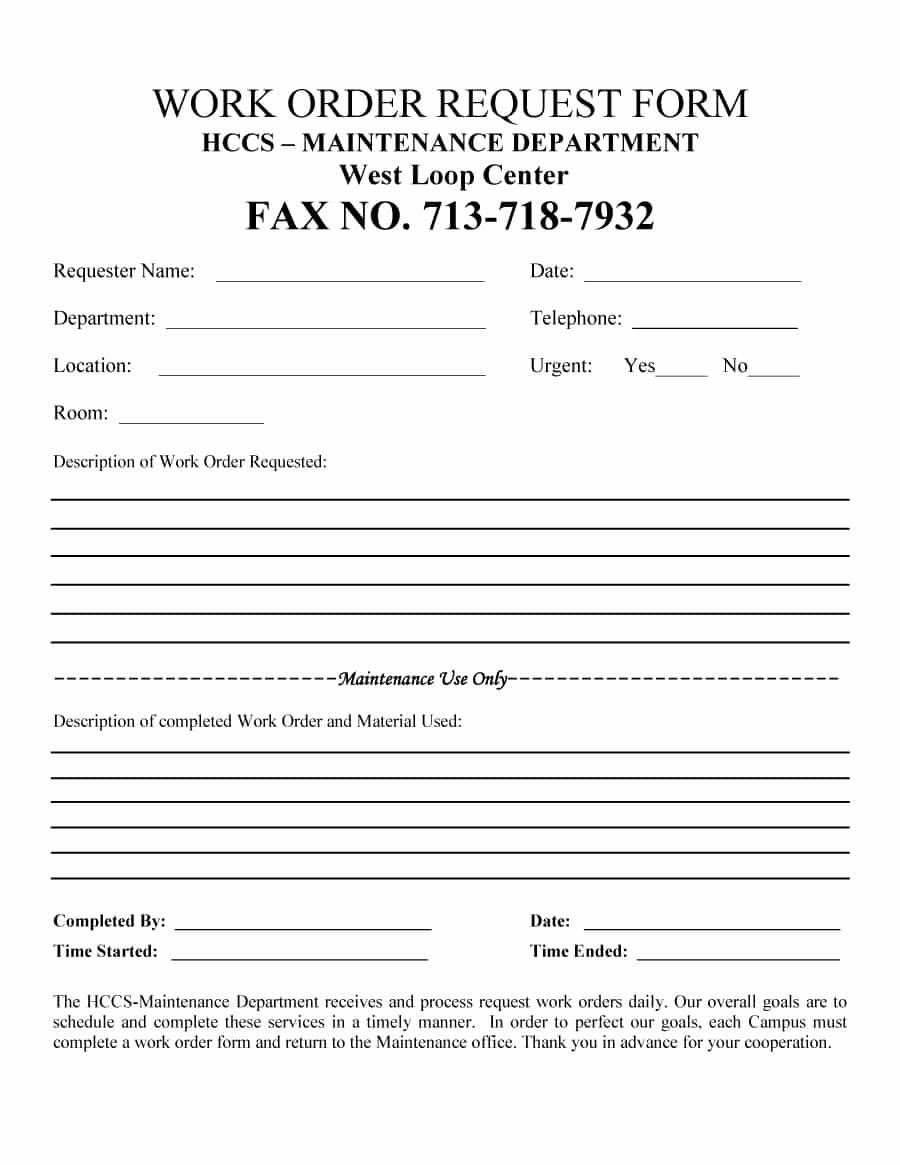 Free Printable Work order Template Elegant 40 order form Templates [work order Change order More]