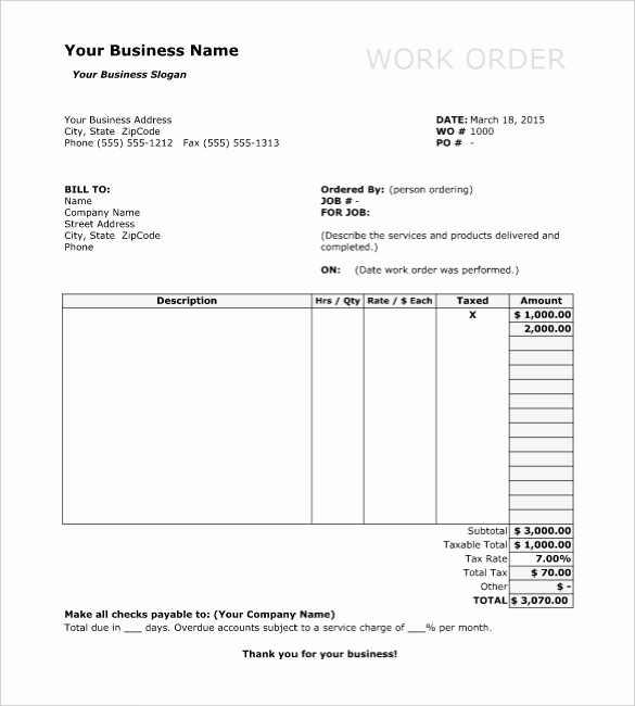 Free Printable Work order Template Elegant Work order Template 13 Free Word Excel Pdf Document