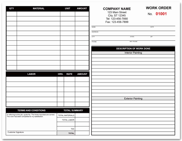 Free Printable Work order Template Inspirational Painting Contractor Work order form