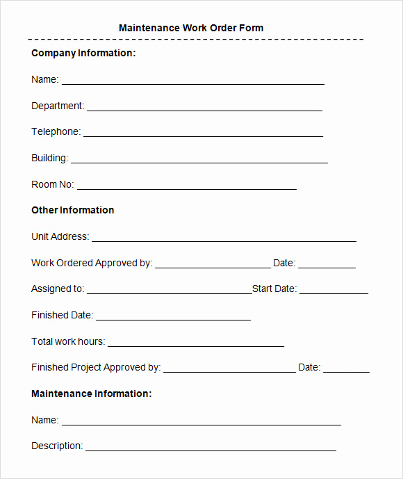 Free Printable Work order Template Lovely Sample Maintenance Work order form 8 Free Documents In Pdf