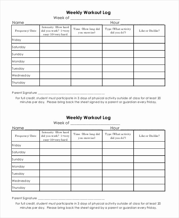 Free Printable Workout Log Sheets Awesome Printable Workout Log 8 Free Pdf Documents Download