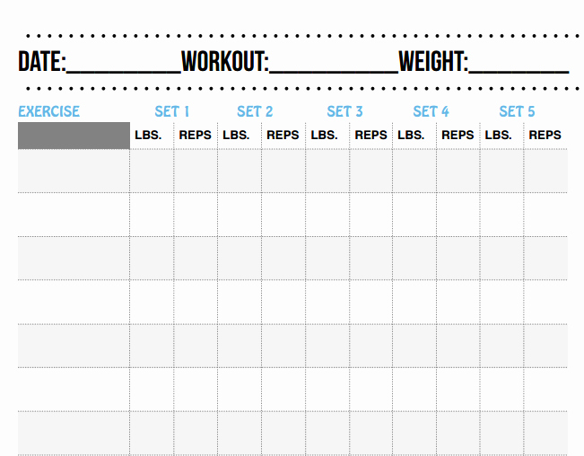 Free Printable Workout Log Sheets Beautiful 28 Of Template Rep Workout