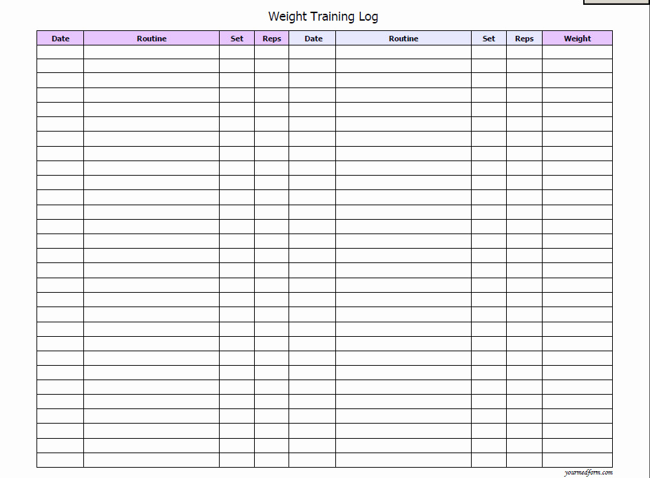 Free Printable Workout Log Sheets Best Of Weight Training Log Fitness Printable Instant Download
