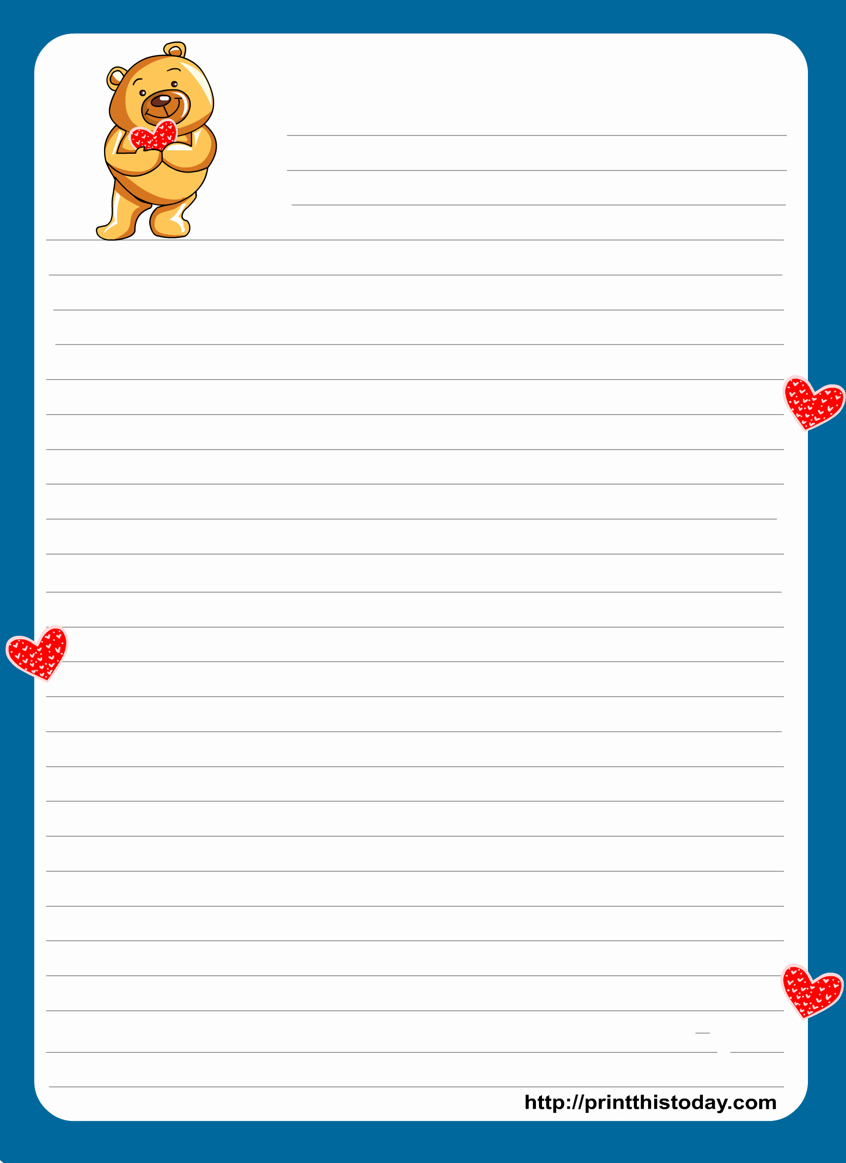 Free Printable Writing Paper Beautiful Teddy Bear Writing Paper for Kids