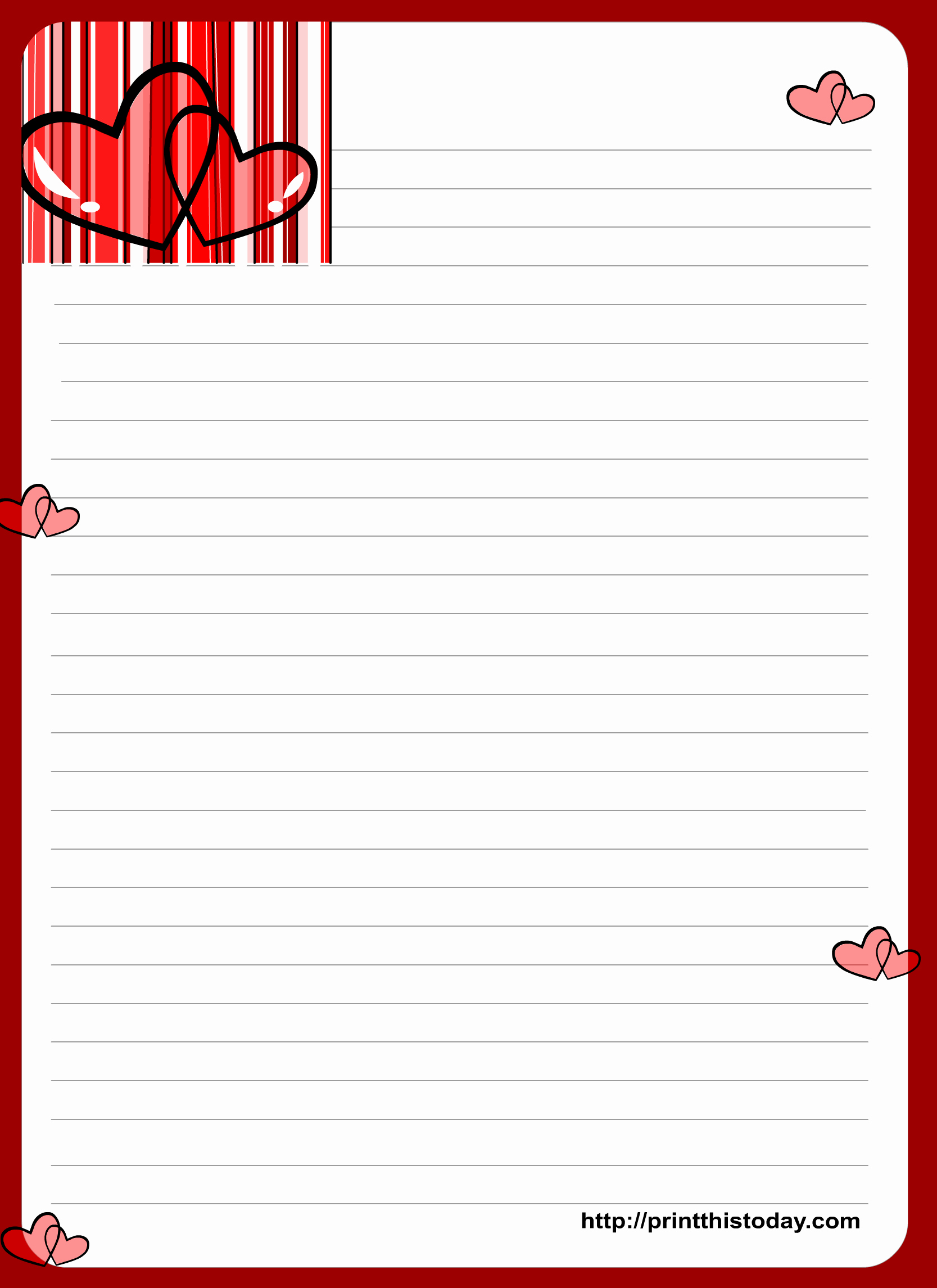 Free Printable Writing Paper Unique Love Letter Writing Paper with Hearts
