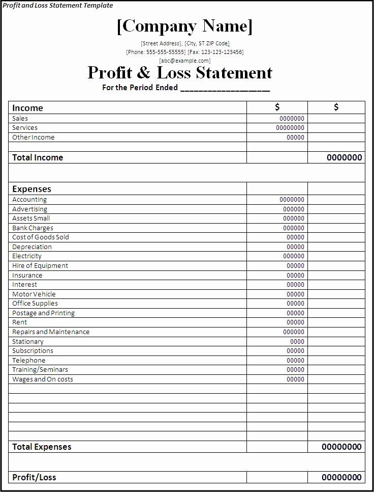 Free Profit and Loss Template Beautiful Profit and Loss Statement Template