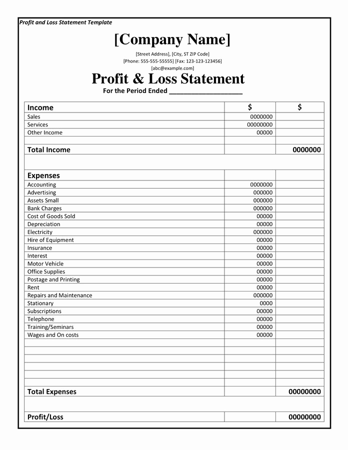Free Profit and Loss Template Best Of Profit and Loss Statement Template Doc Pdf Page 1 Of 1