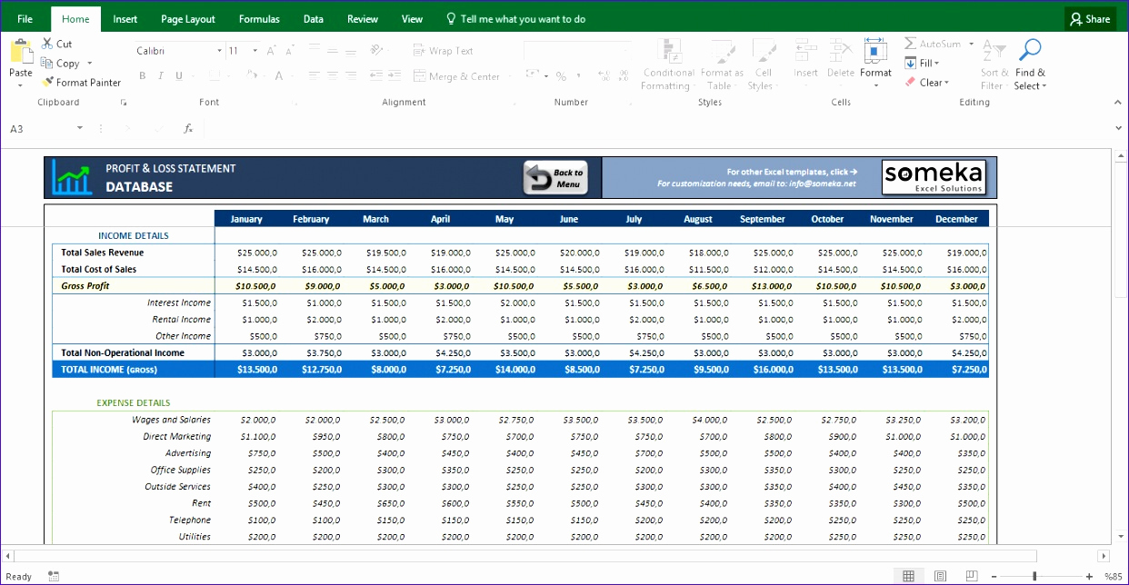 Free Profit and Loss Template Fresh 12 Profit & Loss Excel Template Exceltemplates