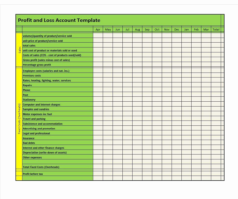 Free Profit and Loss Template Inspirational 35 Profit and Loss Statement Templates & forms