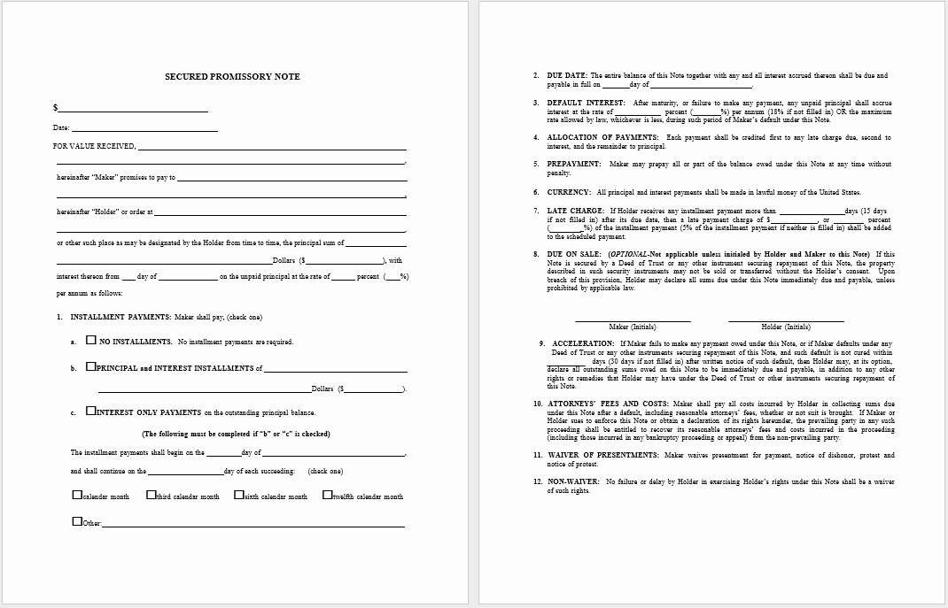 Free Promissory Note Template Word Best Of 17 Free Promissory Note Templates Word Templates