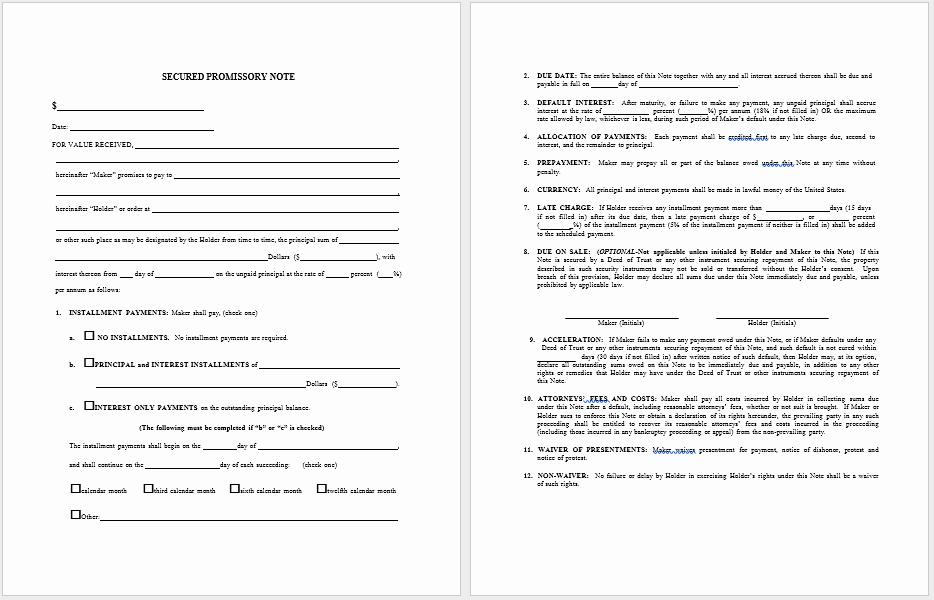 Free Promissory Note Template Word Elegant 43 Free Promissory Note Samples & Templates Ms Word and