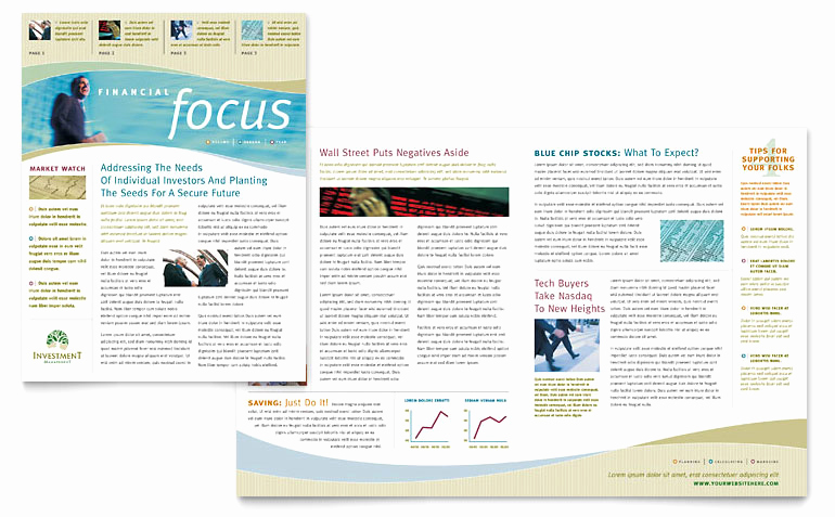 Free Publisher Newsletter Templates New Investment Management Newsletter Template Word & Publisher