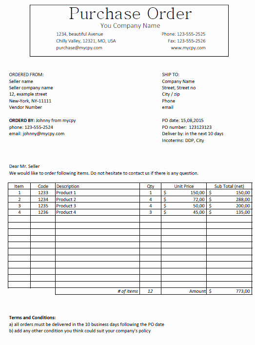 Free Purchase order Template Inspirational Excel Template Free Purchase order Template for