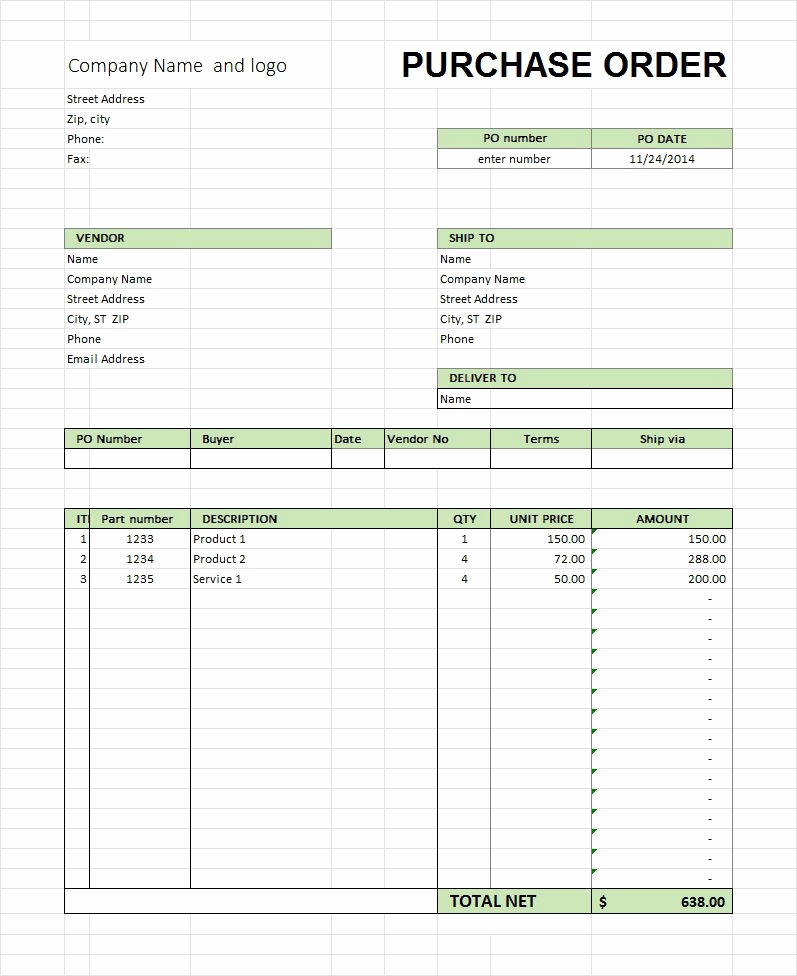 Free Purchase order Template New 39 Free Purchase order Templates In Word & Excel Free